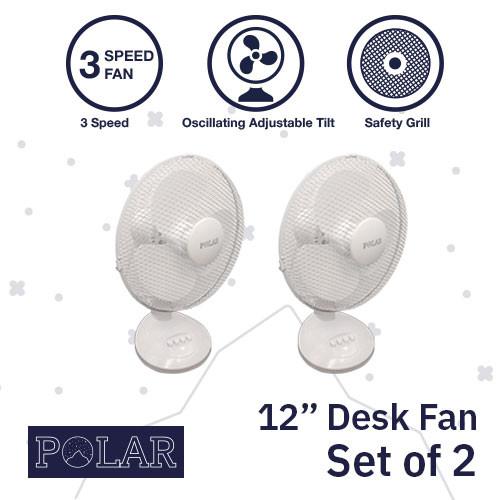 """12"""" Desk Fan 240V - PACK OF 2"""