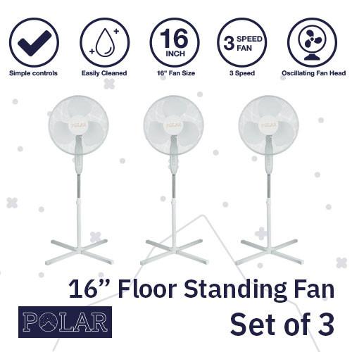 """16"""" Floor Standing Fan 240V - PACK OF 3"""