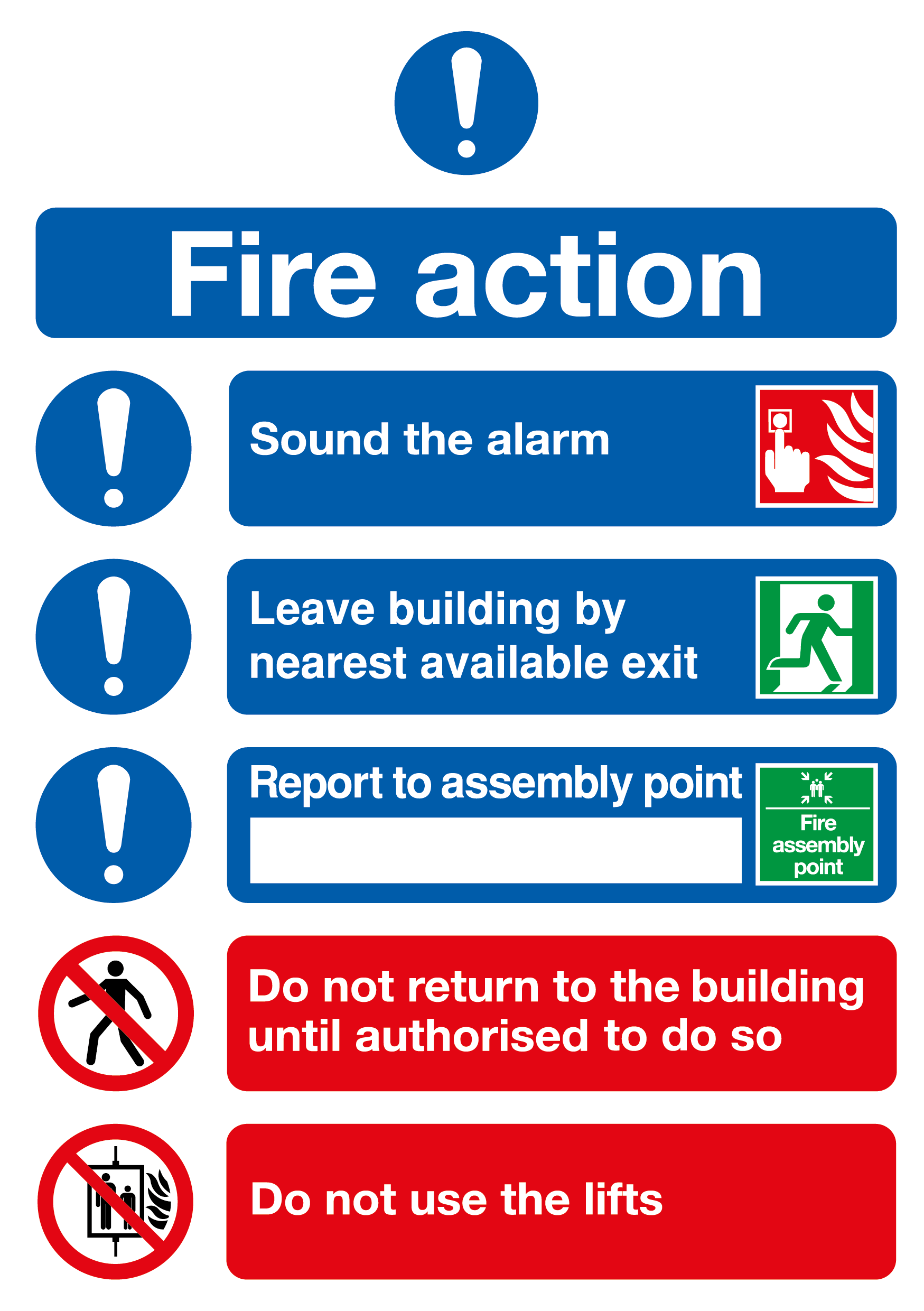 fire action notice fire signs fire amp emergency