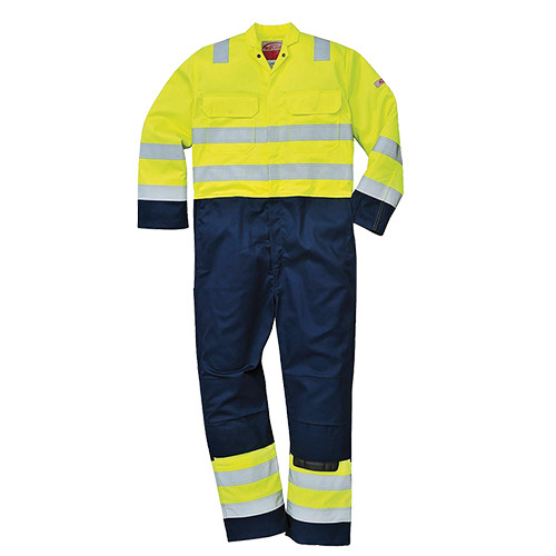 Hi Vis Flame Retardent & Anti-Static Multinorm Coverall Yellow/Navy - Size 4XL