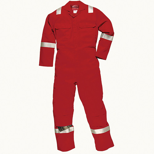 Flame Retardant & Anti Static Overall with Hi vis stripes Red - Size Medium Tall