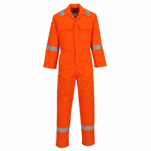 Flame Retardant & Anti Static Overall with Hi vis stripes Orange - Size L Tall