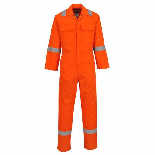 Flame Retardant & Anti Static Overall with Hi vis stripes Orange - Size L Regular