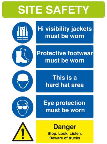 Site Safety Sign - 594mm x 841mm - Rigid PVC