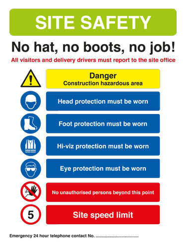 Site Safety Sign - No Hat, No boots, no job! 420mm x 594mm - Rigid PVC