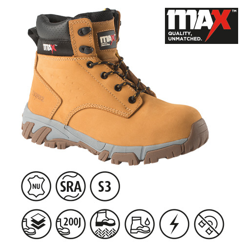 MX12 Comfort+ and Gel Insole Safety Boot - Honey