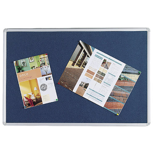 Q-Connect Notice Board 1200x900mm Aluminium Frame Blue