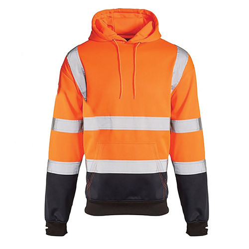 Hi Vis Two Toned Hooded Sweater Orange/Navy