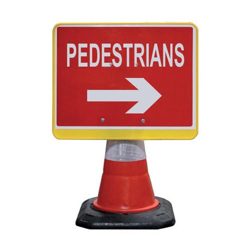 Cone Sign - Pedestrian Right