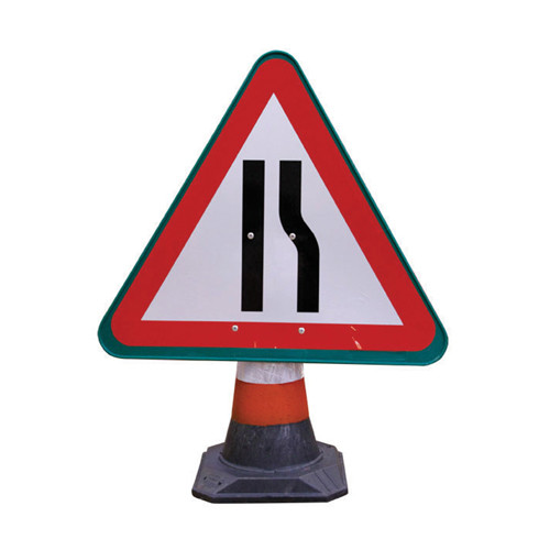 Cone Sign - Road Narrows Right