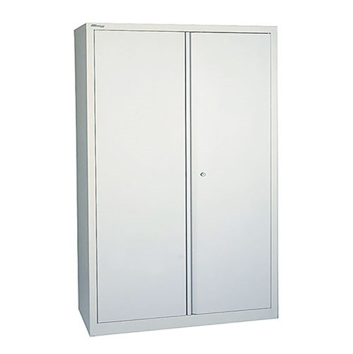 2-Door Steel Stationery Cupboard 914x400x1000mm 2 Shelf Grey