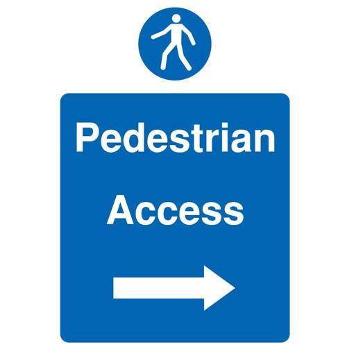 Site Sign - Rigid PVC - 300x400mm (A3) - Pedestrian Access Right Arrow