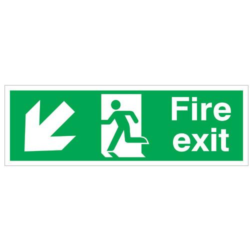 Fire Exit Arrow Down Left -Site Sign - Rigid PVC - 150x450mm
