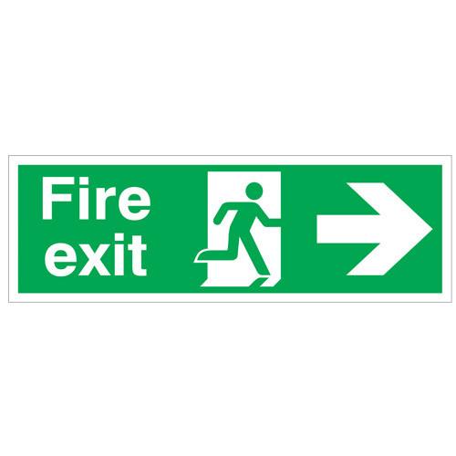 Fire Exit Arrow Right - Site Sign - Rigid PVC - 150x450mm