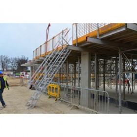 SAFESMART Portable Stairs Aluminium 600mm Wide 12 Step 1.8 - 2.7m Height inc midrail