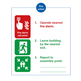 3 step Fire Action instructions (including assembly point)