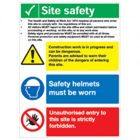 Site Safety Board - Construction Work/Safety Helmets/Unauthorised Entry Forbidden A2