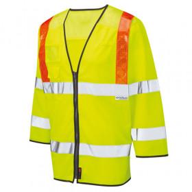 Hi Vis 3/4 Length Sleeved Yellow Vest EN471 Class 3 Coolviz Orange Brace Ventilated - 4XL
