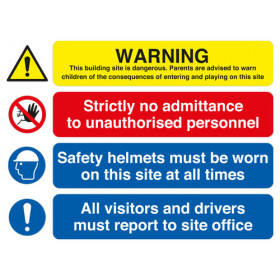 Site Safety Board Warning/No Admittance/Helmets/All Visitors A1