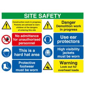 Site Safety Board Construction Works/No Admittance/Hard Hat/Footwear/Danger Demolition/Ear/Hi Vis/Warning A2