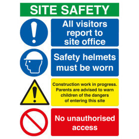 Site Safety Board All Visitors/Hard Hat/Footwear/Construction/No Access A2