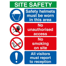 Site Safety Board Safety Helmets/No Unauthorised/No Smoking A2
