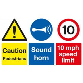 Site Safety Board - Caution Pedestrians/Sound Horn/10 mph Speed Limit - A3