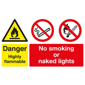 Safety Sign - Danger Highly Flammable/No Smoking or Naked Lights - Rigid A3