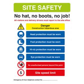 Site Safety Sign - No Hat, No boots, no job! 420mm x 594mm - Rigid PVC