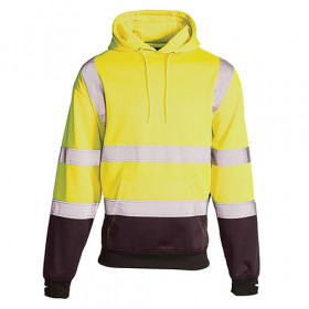 Hi Vis Two Toned Hooded Sweater Yellow/Navy