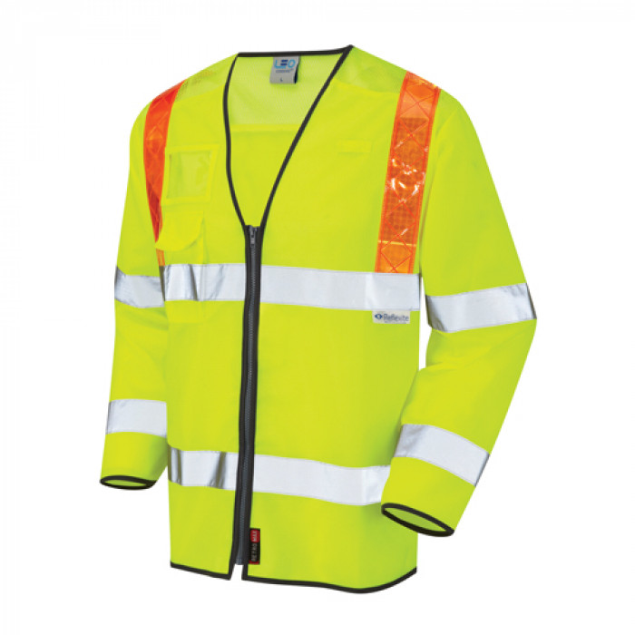 Long Sleeved Hi Vis Vest With Orange Brace