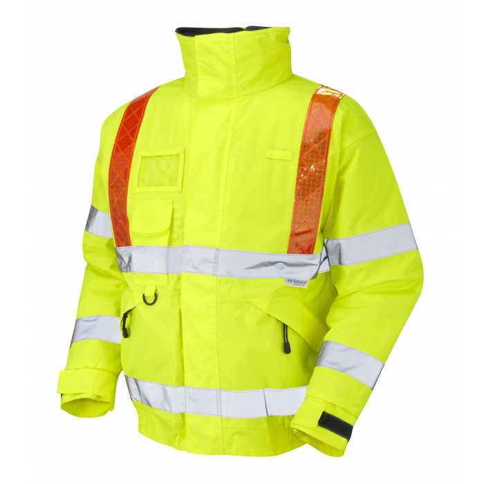 Hi Vis Yellow Bomber Jacket with Orange Brace