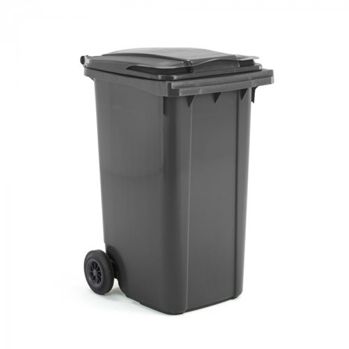 240 Litre Black/Grey Wheelie Dustbin