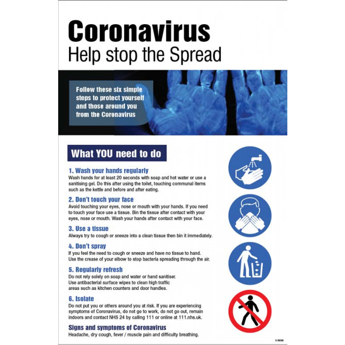 Help Stop the spread – Coronavirus Poster A2