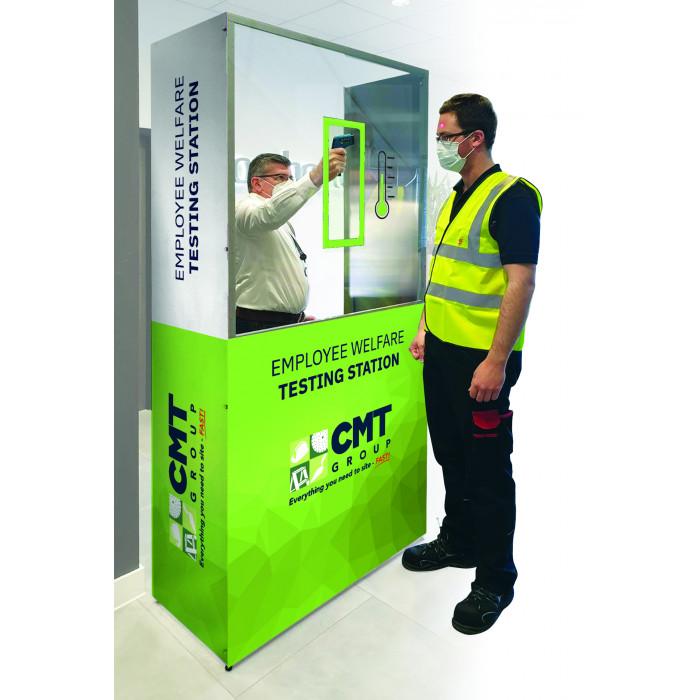 Staff test employee welfare testing station with hand sanitiser dispenser