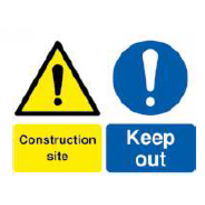 """A3 Correx 4mm Sign - """"Construction Site Keep Out"""""""