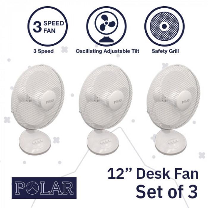 """12"""" Desk Fan 240V - PACK OF 3"""
