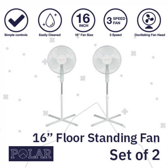 "16"" Floor Standing Fan 240V - PACK OF 2"
