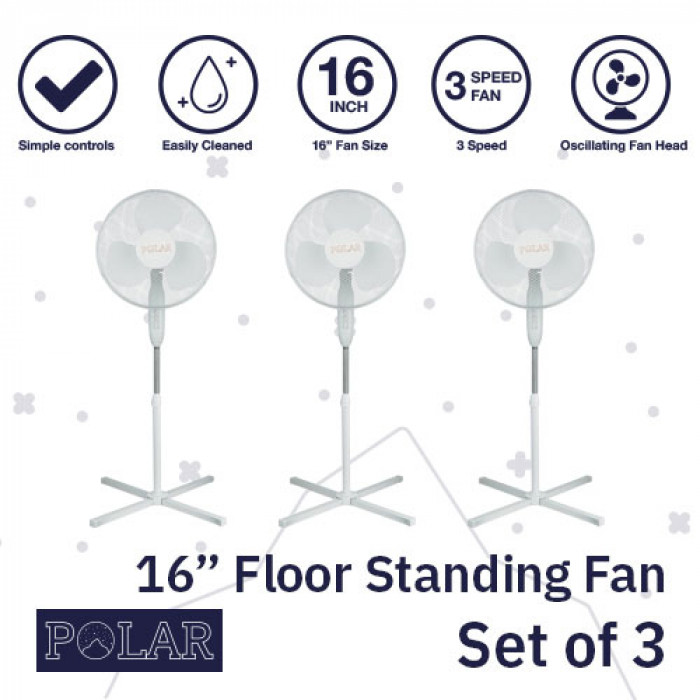 "16"" Floor Standing Fan 240V - PACK OF 3"