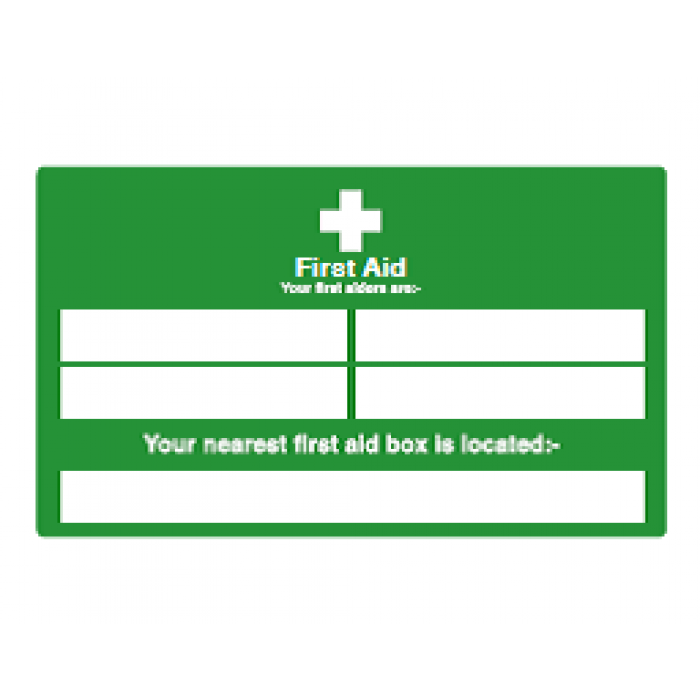 First Aid Information (inc first aid box location)