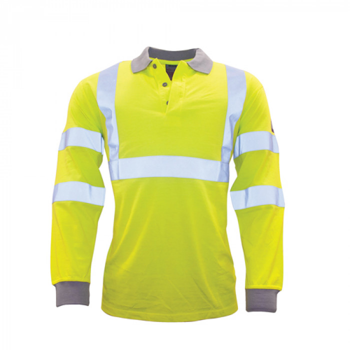 Hi Vis Modaflame Long Sleeved Polo Shirt