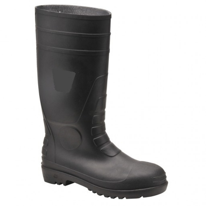 Heavy Duty Wellington Boot with Steel Toe Cap and Mid Sole - Black