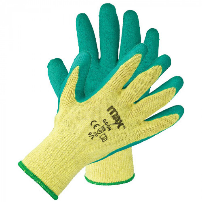 Blue/Green Latex Grip Safety EN388 Gloves