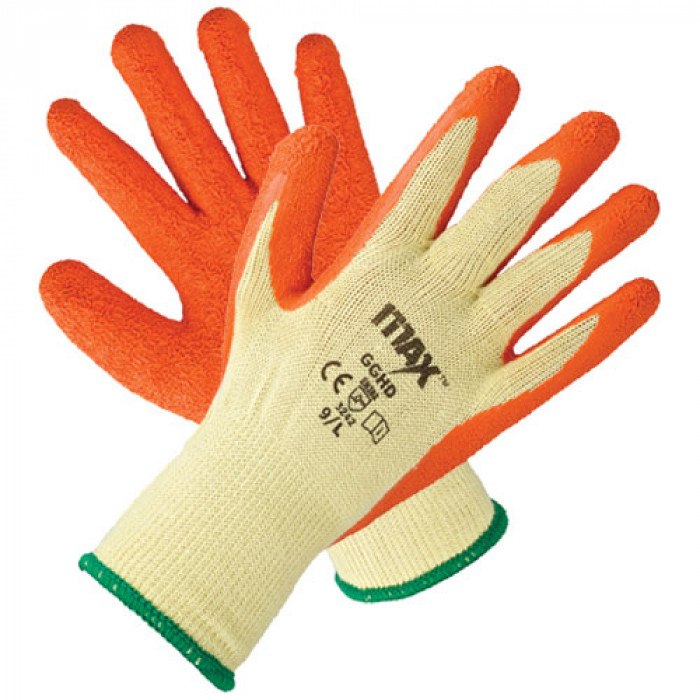 Orange Heavy Duty Latex Grip Safety EN388 Gloves