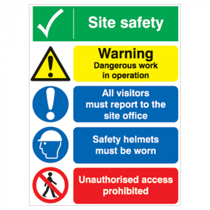 Site Safety Board - Site Safety/Warning Dangerous Work/All Visitors Report to Site Office/Safety Helmets/Unauthorised Access - A2