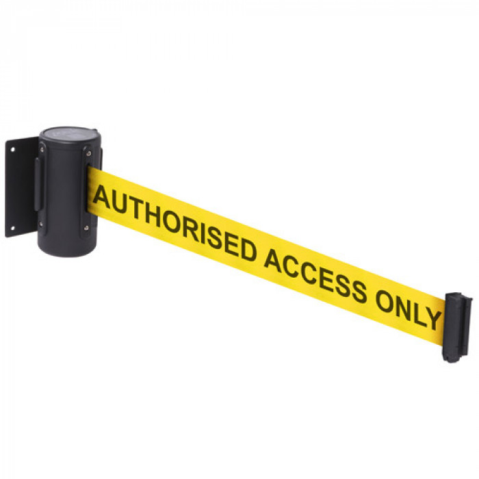 Retractable tape barriers - Yellow tape: AUTHORISED ACCESS ONLY
