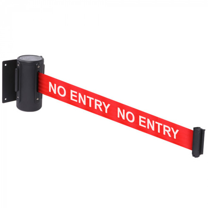 Retractable tape barriers - Red tape: NO ENTRY