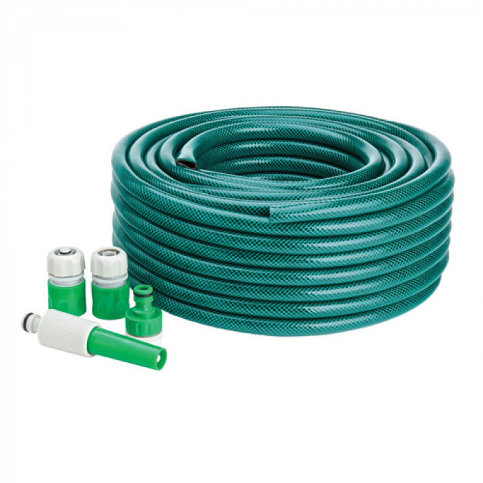 "Green Garden Hose Pipe With Adjustable Hose Nozzles - 1/2"" Diameter 30m"