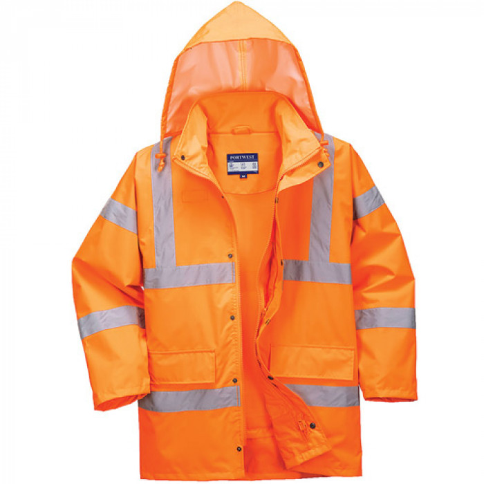 Hi Vis Breathable Site Jacket - Orange c/w Vermont Logo on FLB, Rear and Left Arm