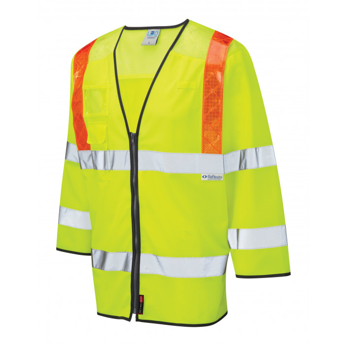 3/4 Sleeve Hi Vis Yellow Vest with Orange Braces